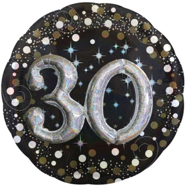 "Balon foliowy ""Urodziny 30"", Sparkling Birthday, AMSCAN, 36"" CIR"