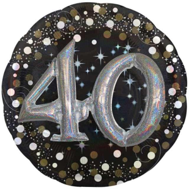 "Balon foliowy ""Urodziny 40"", Sparkling Birthday, AMSCAN, 36"" CIR"