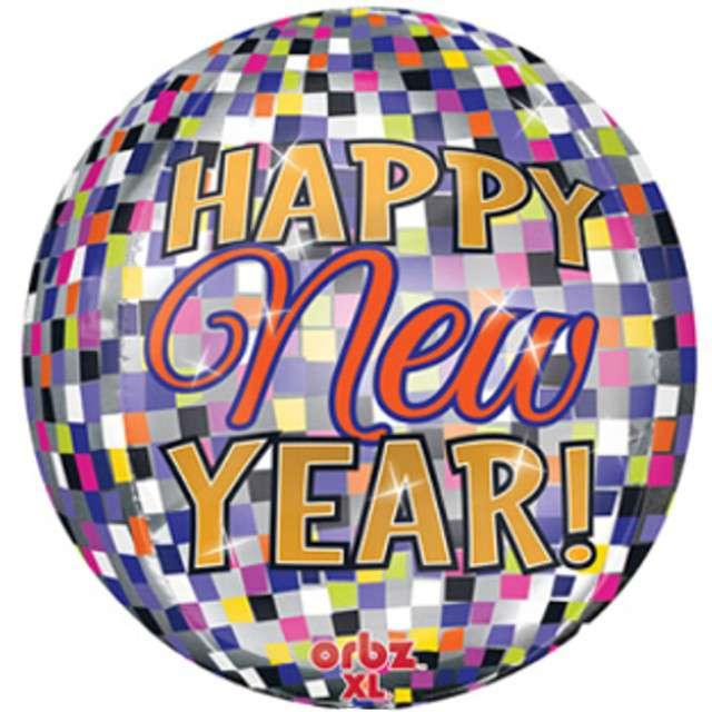"""Balon foliowy """"Happy New Year Disco"""", AMSCAN, 15"""" ORB"""