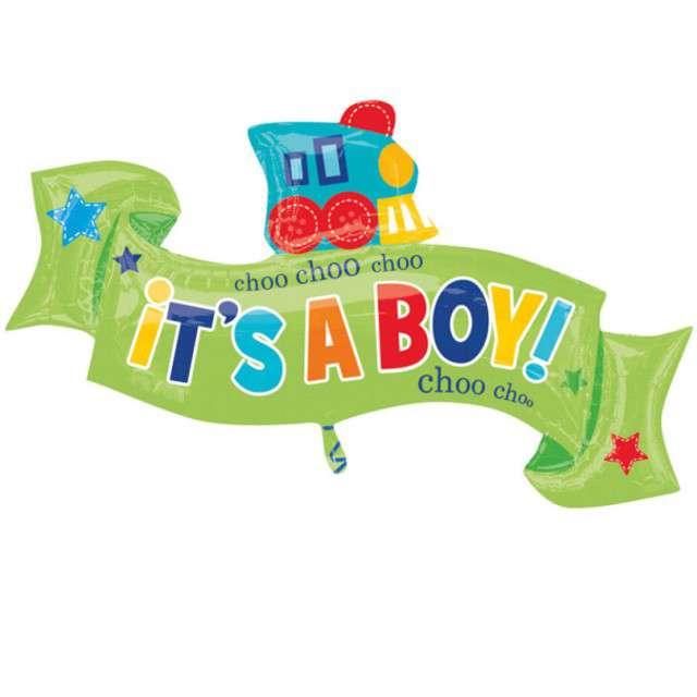 """Balon foliowy """"Wstążka - ITS A BOY"""", AMSCAN, 40"""" SHP"""