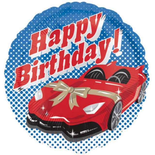 """Balon foliowy """"Samochód Wyścigowy - Happy Birthday"""", AMSCAN, 17"""" SHP"""
