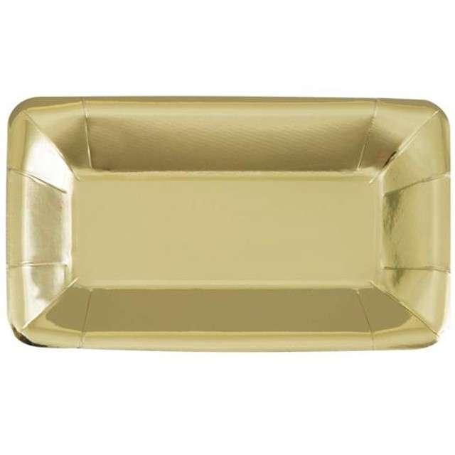 """Talerzyki papierowe """"Prostokąt"""", UNIQUE, złote, 23 cm, 8 szt"""