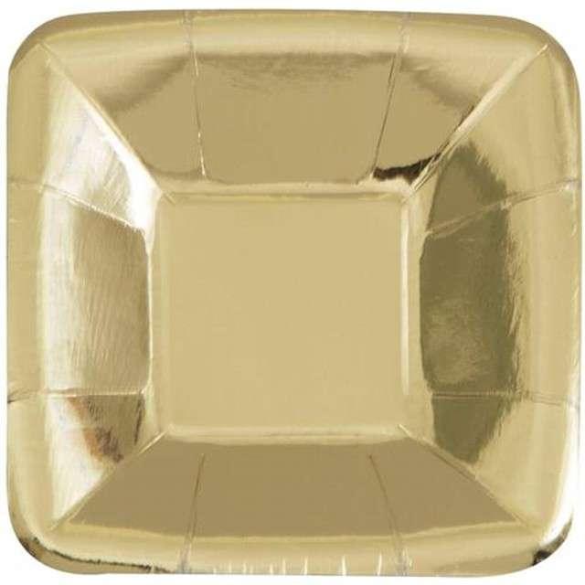 """Talerzyki papierowe """"Kwadrat"""", UNIQUE, złote, 13 cm, 8 szt"""