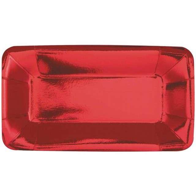 """Talerzyki papierowe """"Prostokąt"""", UNIQUE, czerwone, 23 cm, 8 szt"""