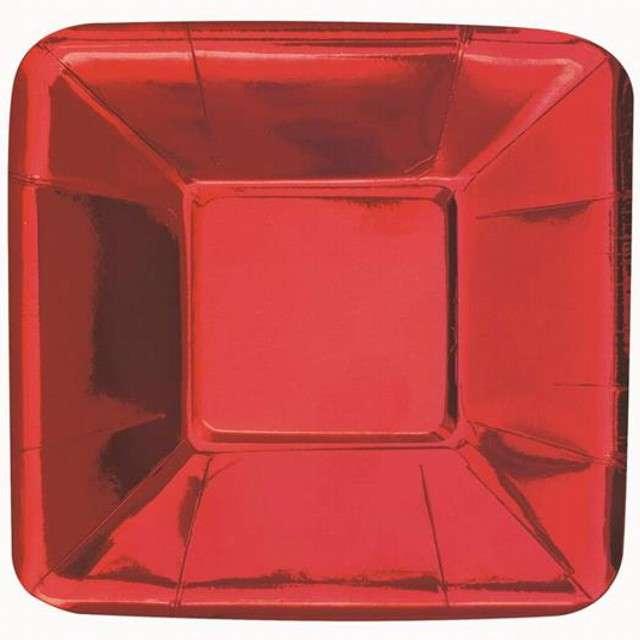 """Talerzyki papierowe """"Kwadrat"""", UNIQUE, czerwone, 13 cm, 8 szt"""