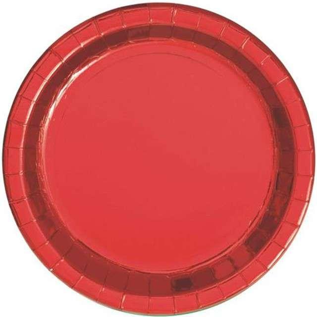 """Talerzyki papierowe """"Premium"""", UNIQUE, czerwone, 23 cm, 8 szt"""