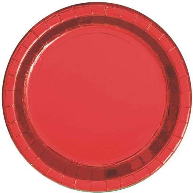 """Talerzyki papierowe """"Premium"""", UNIQUE, czerwone, 18 cm, 8 szt"""