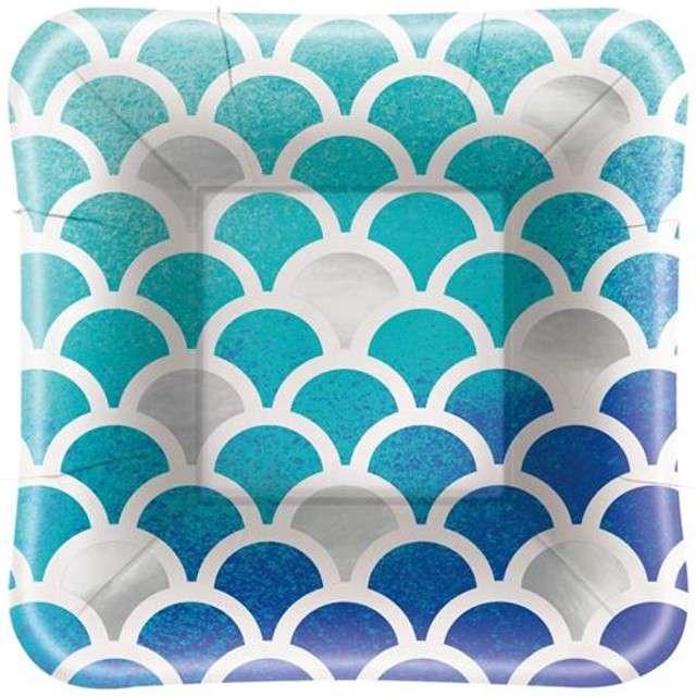 "Talerzyki papierowe ""Ocean Blue"", UNIQUE, 13 cm, 8 szt"