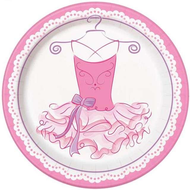 """Talerzyki papierowe """"Różowe Baletki"""", UNIQUE, 23 cm, 8 szt"""