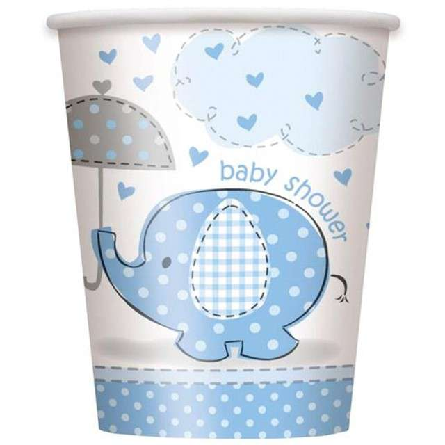 """Kubeczki papierowe """"Baby Shower - Słonik"""", UNIQUE, niebieskie, 266 ml, 8 szt"""