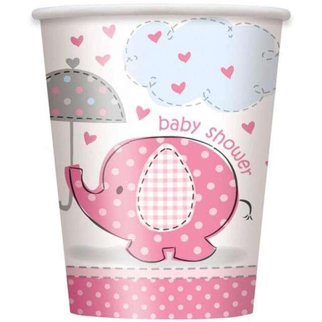 """Kubeczki papierowe """"Baby Shower - Słonik"""", UNIQUE, różowe, 266 ml, 8 szt"""