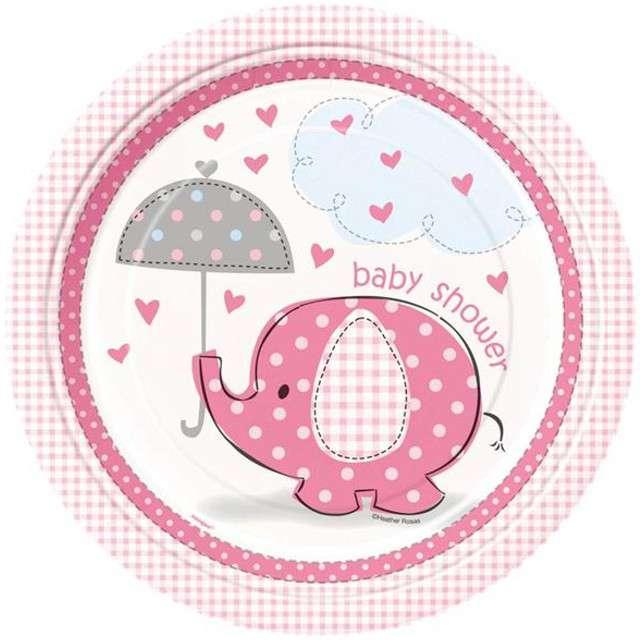 """Talerzyki papierowe """"Baby Shower - Słonik"""", różowe, UNIQUE, 23 cm, 8 szt"""
