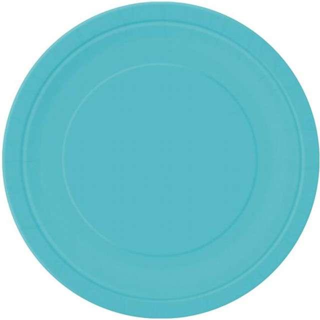 """Talerzyki papierowe """"Premium"""", UNIQUE, niebieski morski, 23 cm, 16 szt"""