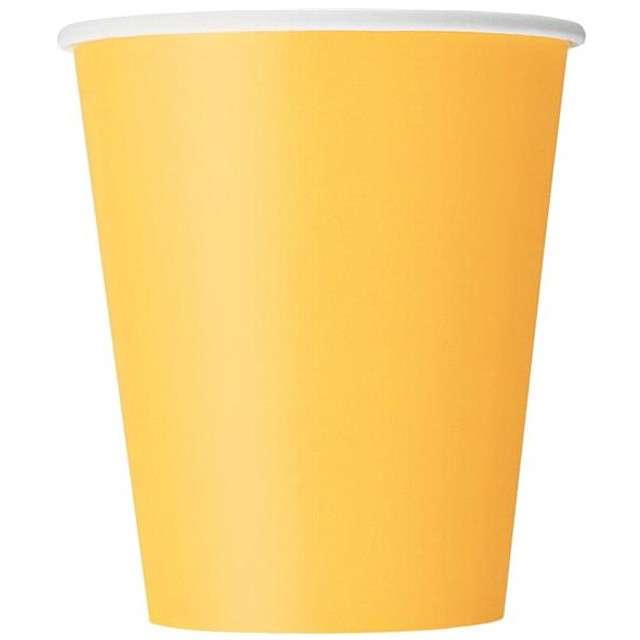 "Kubeczki papierowe ""Classic"", UNIQUE, żółte, 266 ml, 8 szt"