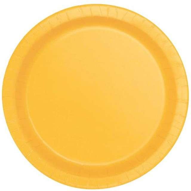 """Talerzyki papierowe """"Premium"""", UNIQUE, żółte, 23 cm, 16 szt"""