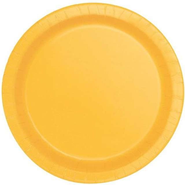 """Talerzyki papierowe """"Premium"""", UNIQUE, żółte, 18 cm, 8 szt"""