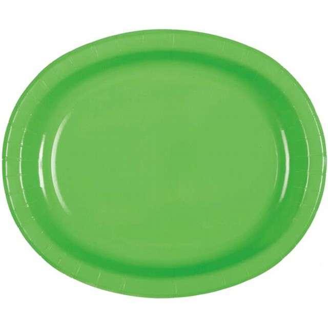 """Talerzyki papierowe """"Oval Classic"""", UNIQUE, zielone, 30 cm, 8 szt"""