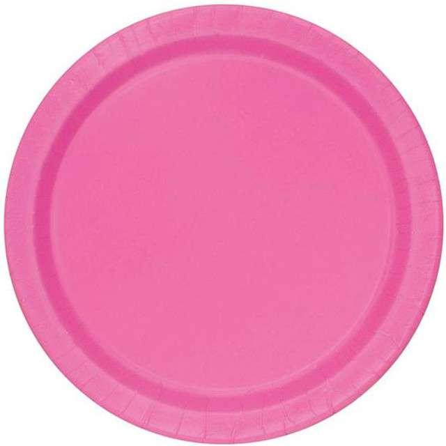 """Talerzyki papierowe """"Premium"""", UNIQUE, różowe, 18 cm, 8 szt"""