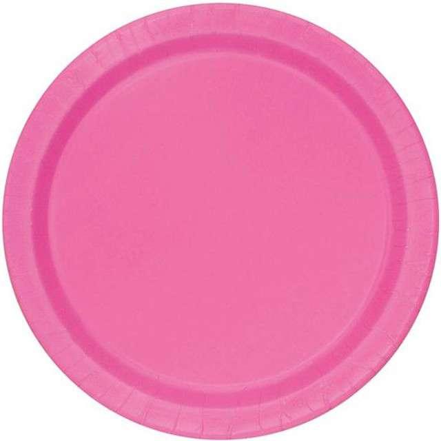 """Talerzyki papierowe """"Premium"""", UNIQUE, różowe, 23 cm, 16 szt"""