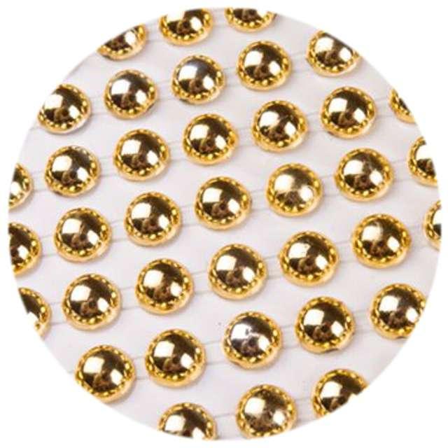 """Dżety samoprzylepne """"Perełki"""", złote metallic, 6 mm, 216 szt"""