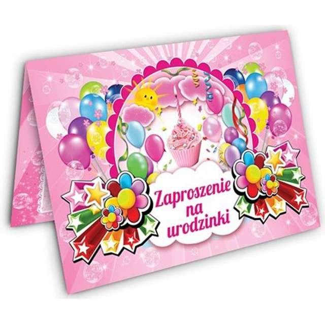 """Zaproszenia urodzinowe """"Torcik"""", różowe, 10 szt"""