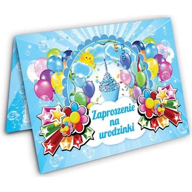 """Zaproszenia urodzinowe """"Torcik"""", błękitne, 10 szt"""
