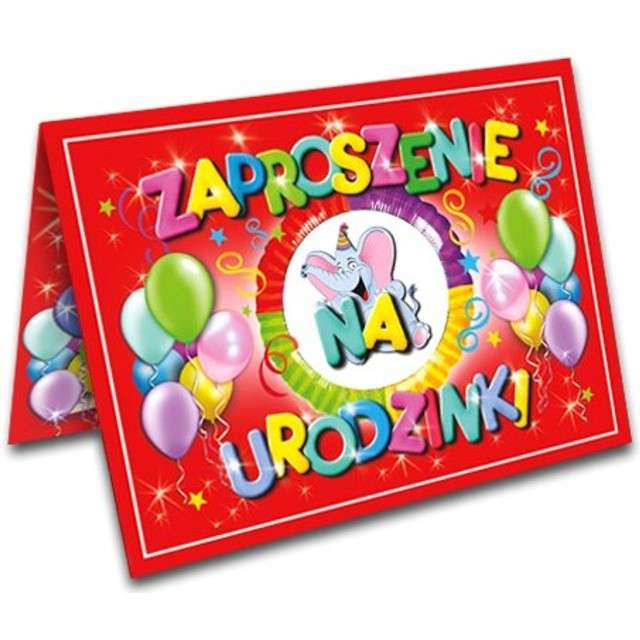"""Zaproszenia z kopertą """"Urodziny Słonik"""", 10 szt"""