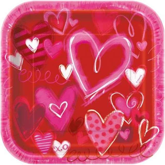 """Talerzyki papierowe """"Hearts"""", UNIQUE, 23 cm, 8 szt"""