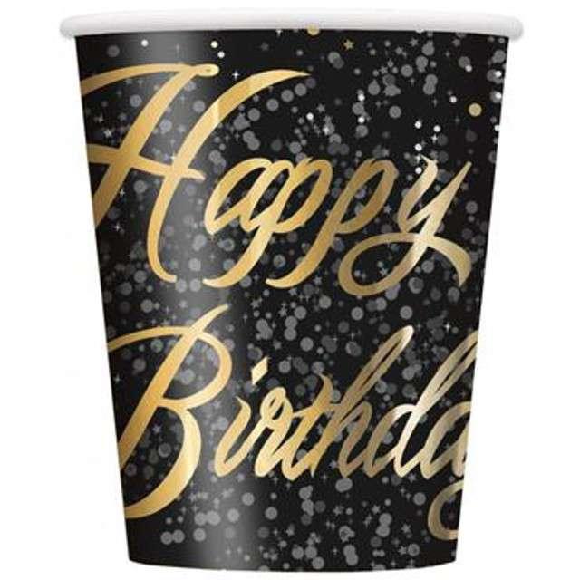 """Kubeczki papierowe """"Glitz - Happy Birthday"""", UNIQUE, złote, 250 ml, 8 szt"""
