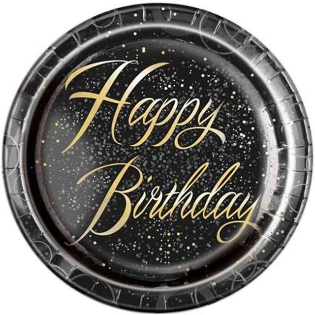"""Talerzyki papierowe """"Glitz - Happy Birthday"""", UNIQUE, złote, 23 cm, 8 szt"""