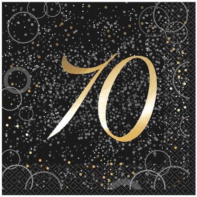 """Serwetki """"70 urodziny - Glitz"""", UNIQUE, złote, 33 cm, 16 szt"""