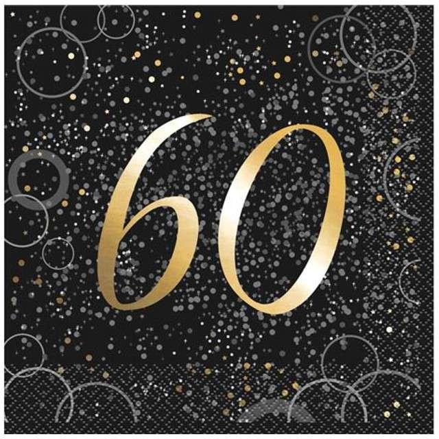 """Serwetki """"60 urodziny - Glitz"""", UNIQUE, złote, 33 cm, 16 szt"""