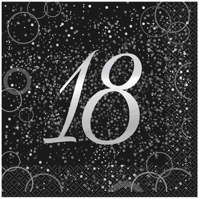 """Serwetki """"18 urodziny - Glitz"""", UNIQUE, srebrne, 33 cm, 16 szt"""