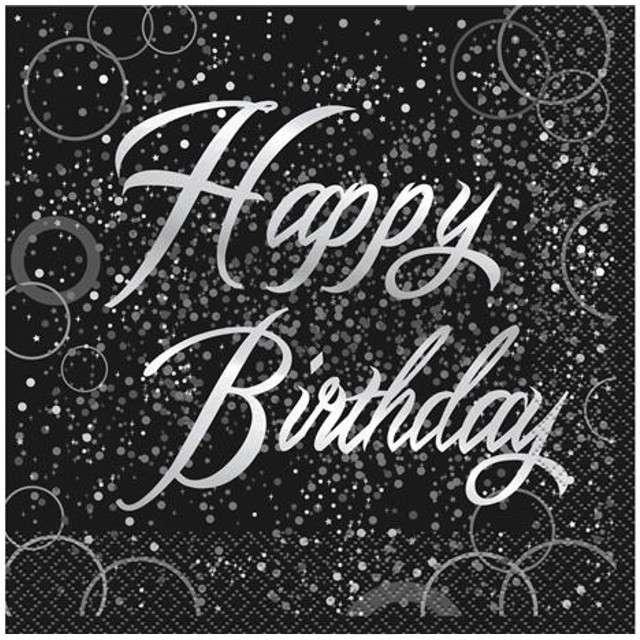 "Serwetki ""Happy Birthday urodziny - Glitz"", UNIQUE, srebrne, 33 cm, 16 szt"