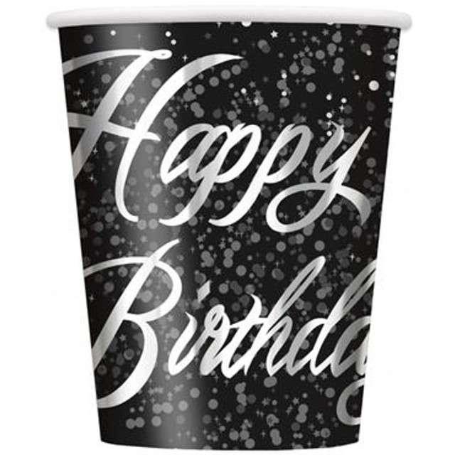 "Kubeczki papierowe ""Glitz - Happy Birthday"", UNIQUE, srebrne, 250 ml, 8 szt"