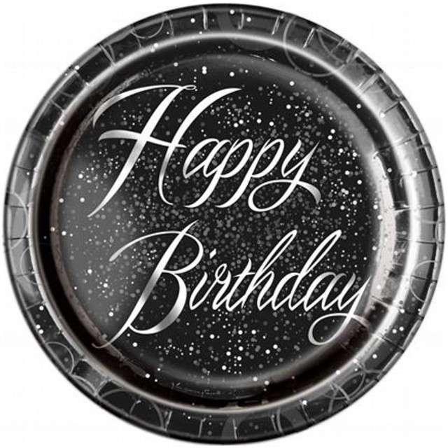 """Talerzyki papierowe """"Glitz - Happy Birthday"""", UNIQUE, srebrne, 23 cm, 8 szt"""