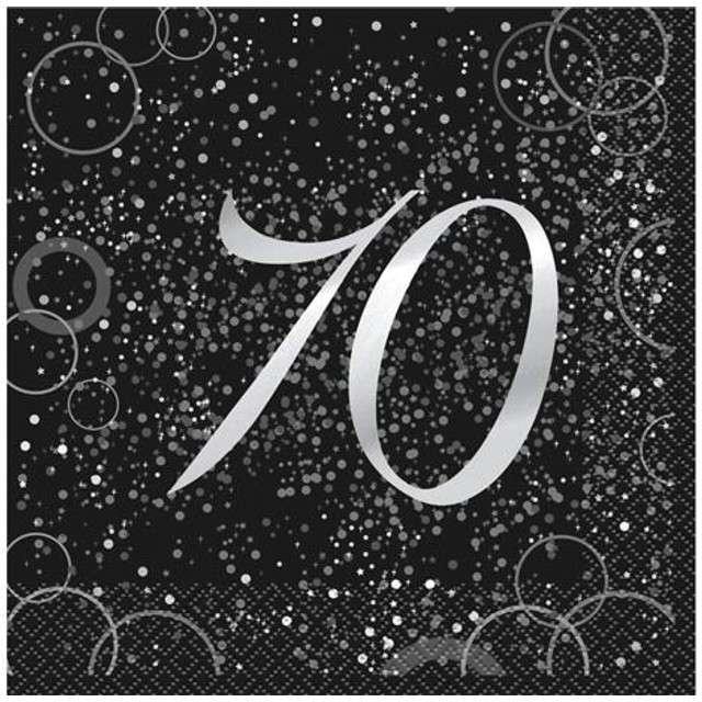 """Serwetki """"70 urodziny - Glitz"""", UNIQUE, srebrne, 33 cm, 16 szt"""