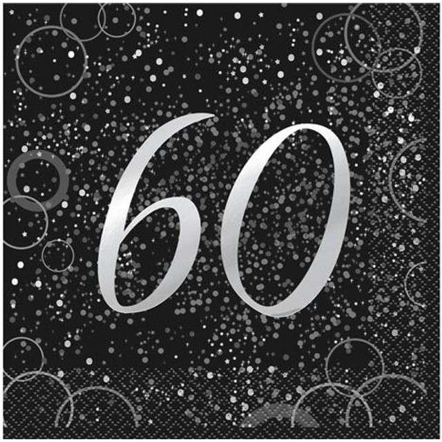 """Serwetki """"60 urodziny - Glitz"""", UNIQUE, srebrne, 33 cm, 16 szt"""