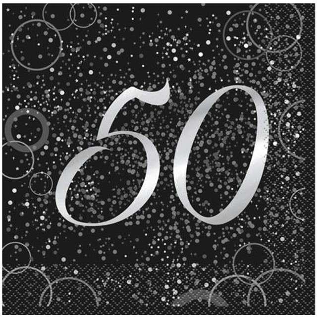"""Serwetki """"50 urodziny - Glitz"""", UNIQUE, srebrne, 33 cm, 16 szt"""