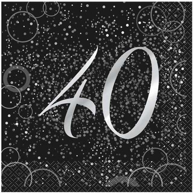 """Serwetki """"40 urodziny - Glitz"""", UNIQUE, srebrne, 33 cm, 16 szt"""