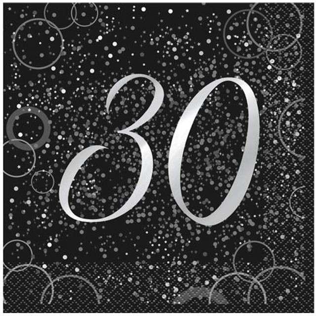 """Serwetki """"30 urodziny - Glitz"""", UNIQUE, srebrne, 33 cm, 16 szt"""