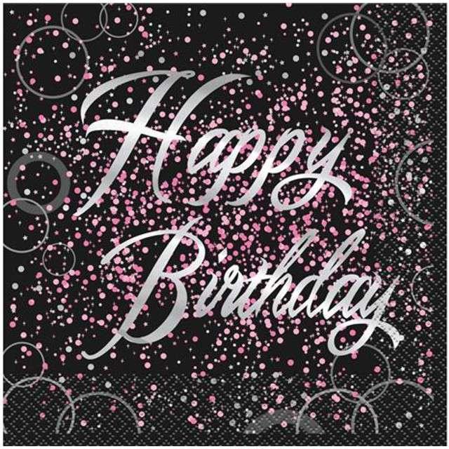 """Serwetki """"Happy Birthday urodziny - Glitz"""", UNIQUE, różowe, 33 cm, 16 szt"""
