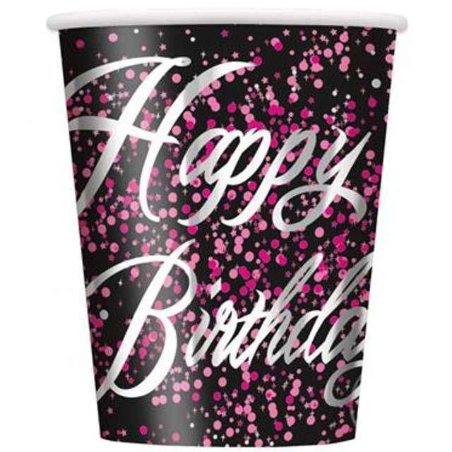 """Kubeczki papierowe """"Glitz - Happy Birthday"""", UNIQUE, różowe, 250 ml, 8 szt"""