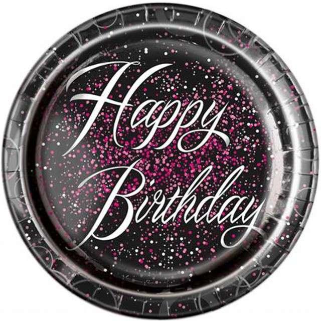 """Talerzyki papierowe """"Glitz - Happy Birthday"""", UNIQUE, różowe, 23 cm, 8 szt"""