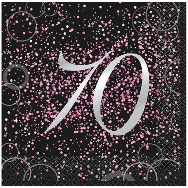 """Serwetki """"70 urodziny - Glitz"""", UNIQUE, różowe, 33 cm, 16 szt"""