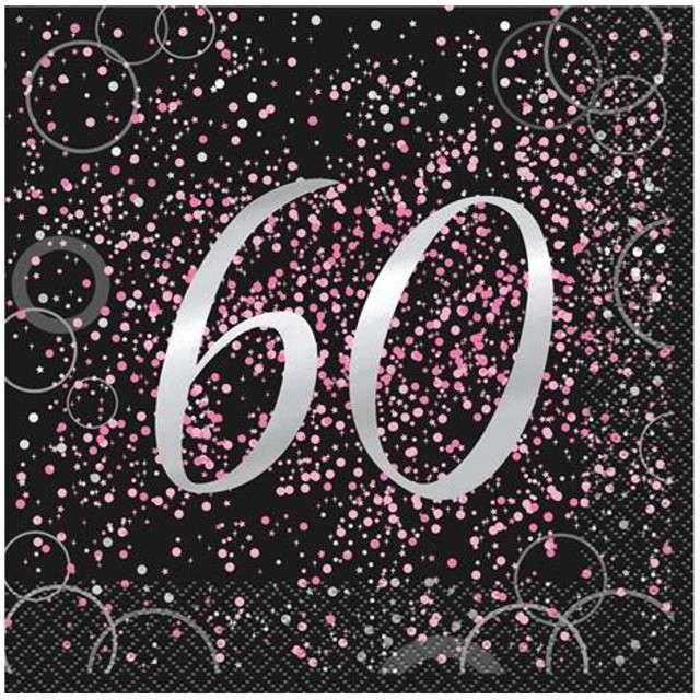 """Serwetki """"60 urodziny - Glitz"""", UNIQUE, różowe, 33 cm, 16 szt"""