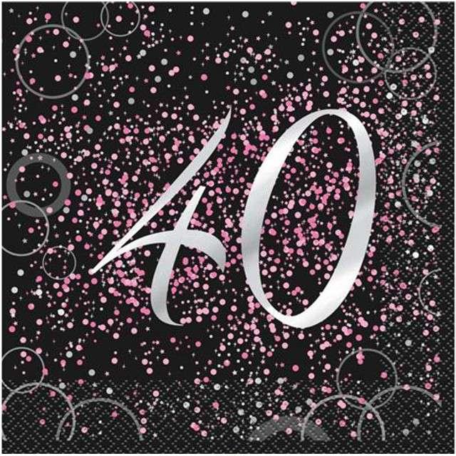 """Serwetki """"40 urodziny - Glitz"""", UNIQUE, różowe, 33 cm, 16 szt"""