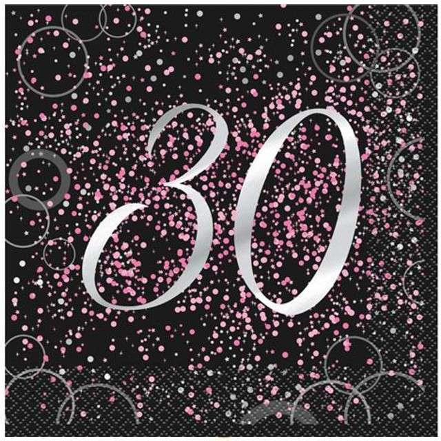 """Serwetki """"30 urodziny - Glitz"""", UNIQUE, różowe, 33 cm, 16 szt"""