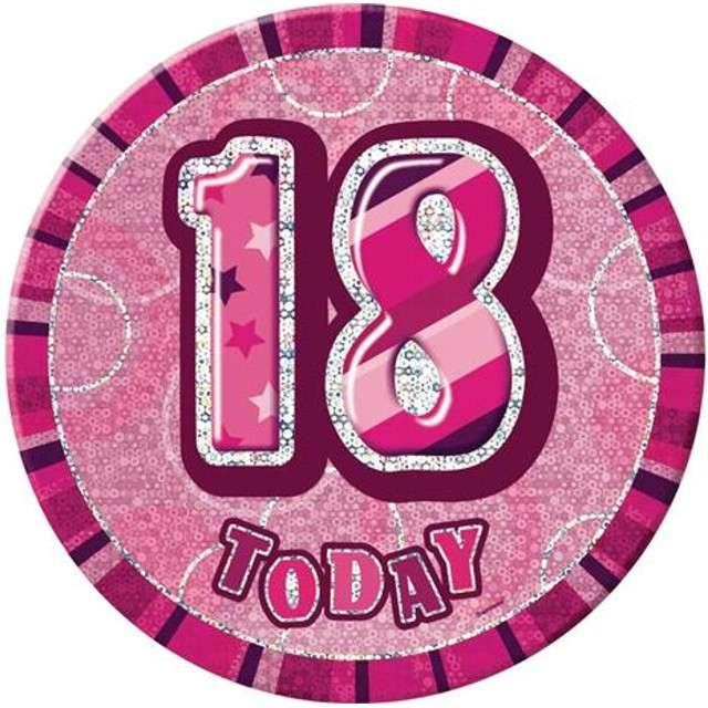 """Kotylion """"Urodziny 18 - GLITZ"""", różowy, UNIQUE"""