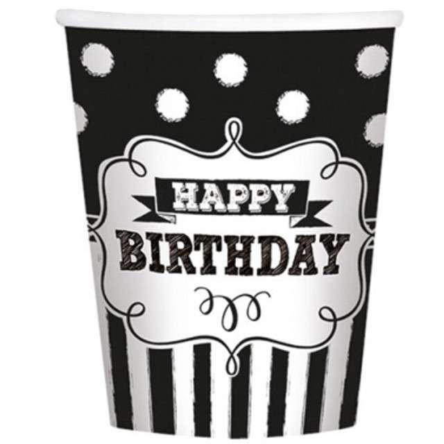 """Kubeczki papierowe """"Happy Birthday Chalkboard"""", 266 ml, 8 szt"""